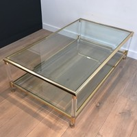 Large Gild and Acrylic Coffee Table. Circa 1970