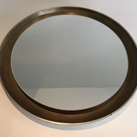 Silver Curved Wood Mirror