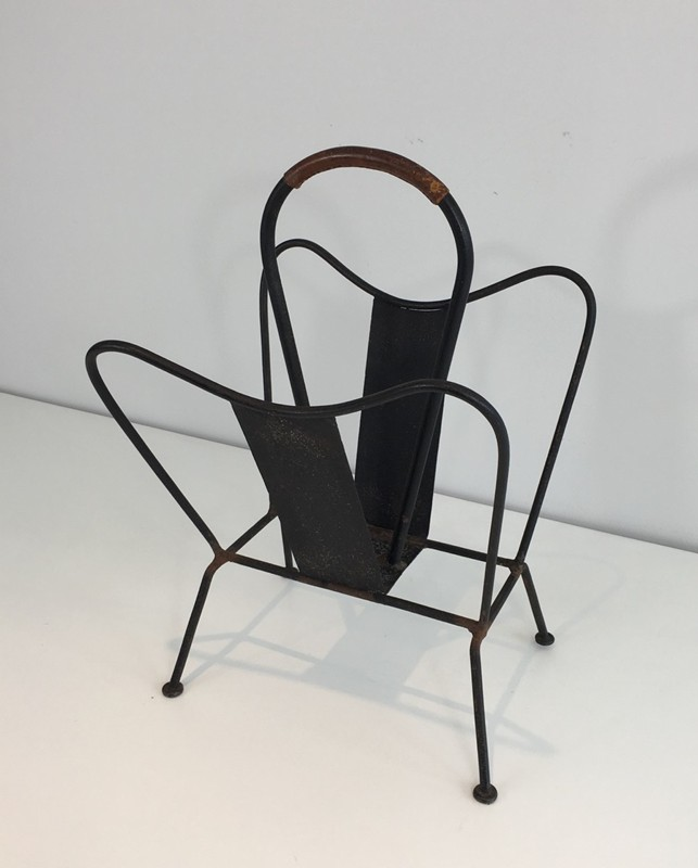 Black Lacquered and Brown Leather Magazine Rack-barrois-antiques-50's-27873-main-636626832343531280.JPG