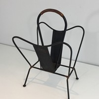 Black Lacquered and Brown Leather Magazine Rack