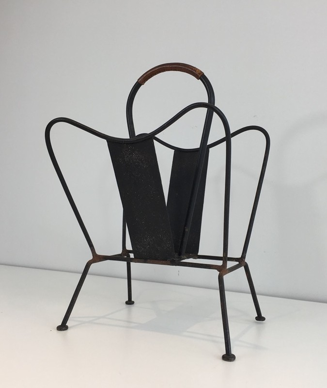 Black Lacquered and Brown Leather Magazine Rack-barrois-antiques-50's-27876-main-636626832407338552.JPG