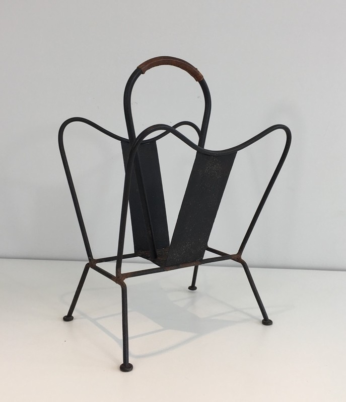 Black Lacquered and Brown Leather Magazine Rack-barrois-antiques-50's-27882-main-636626832765220904.JPG