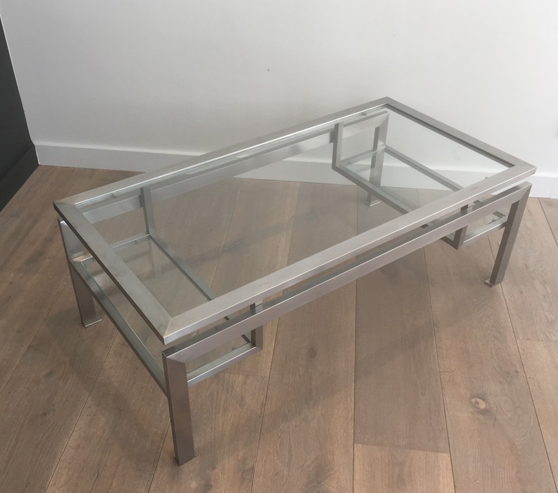 Brushed Steel Coffee table with Small Glass -barrois-antiques-50's-28131-main-636631214813820632.JPG