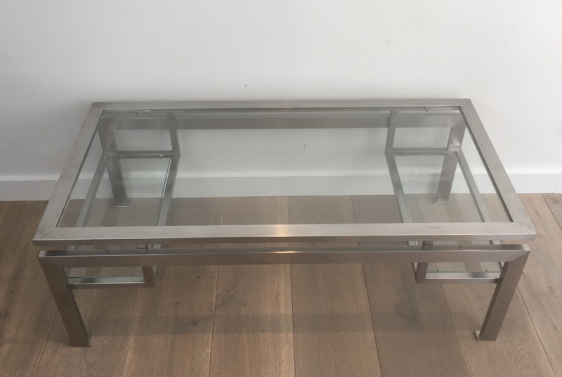 Brushed Steel Coffee table with Small Glass -barrois-antiques-50's-28134-main-636631215204932688.JPG