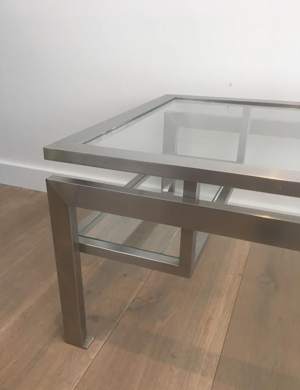 Brushed Steel Coffee table with Small Glass -barrois-antiques-50's-28136-main-636631215340659648.JPG