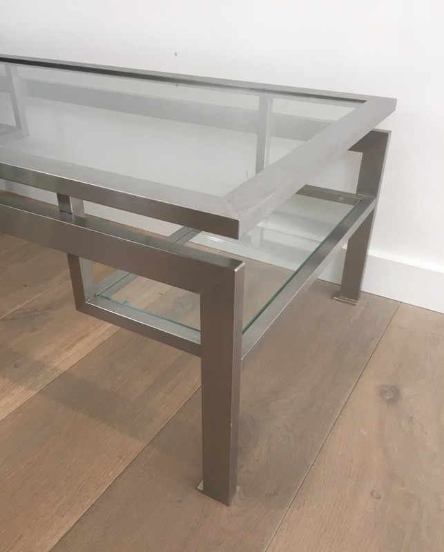 Brushed Steel Coffee table with Small Glass -barrois-antiques-50's-28137-main-636631215594640672.JPG