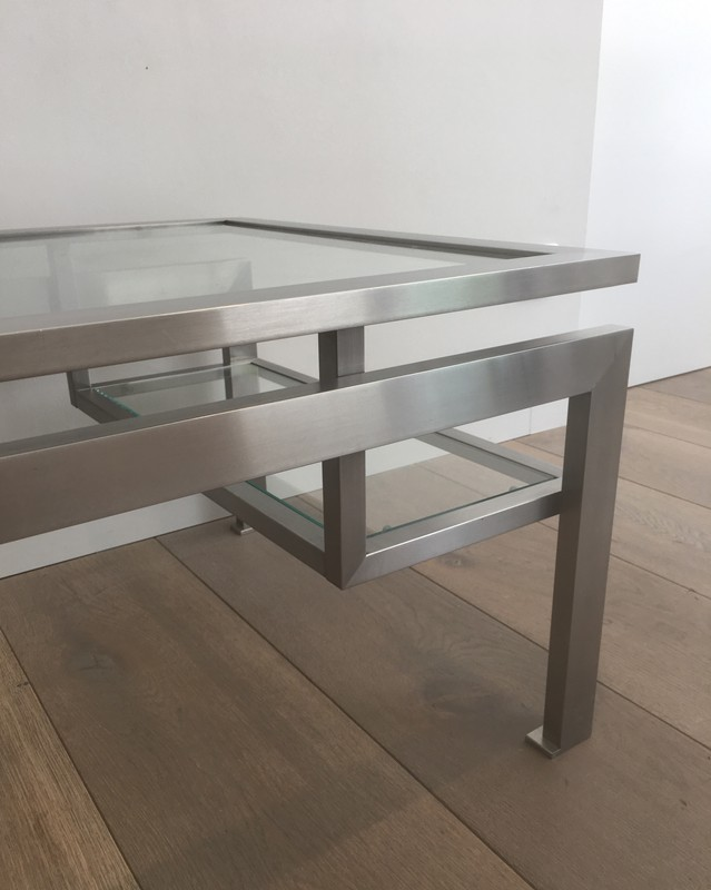 Brushed Steel Coffee table with Small Glass -barrois-antiques-50's-28138-main-636631215798075104.JPG