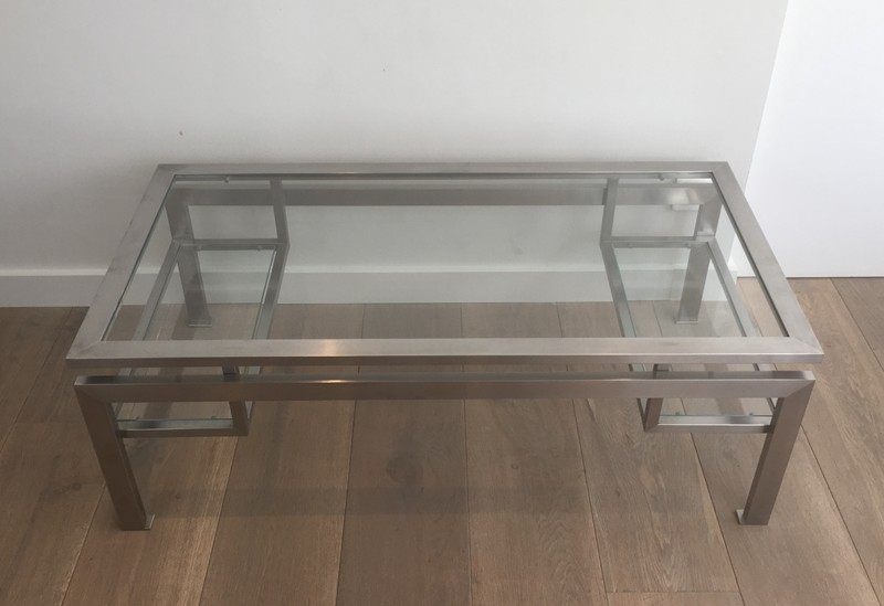 Brushed Steel Coffee table with Small Glass -barrois-antiques-50's-28141-main-636631216116331424.JPG