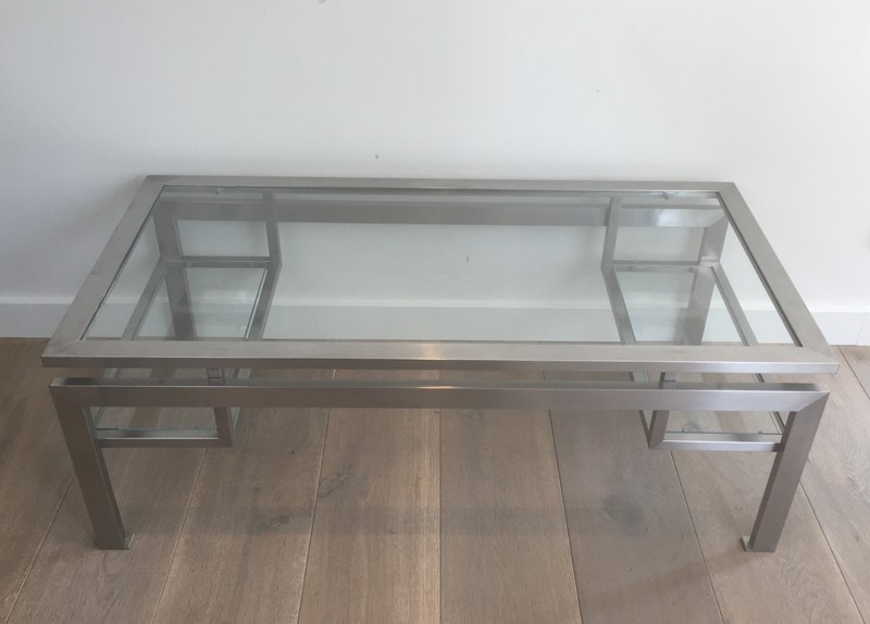Brushed Steel Coffee table with Small Glass -barrois-antiques-50's-28142-main-636631216273587246.JPG