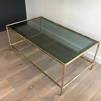 Faux-Bamboo Brass Coffee Table with Blueish Glass