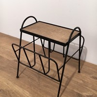 Black Lacquered Metal and Rattan Magazine Rack