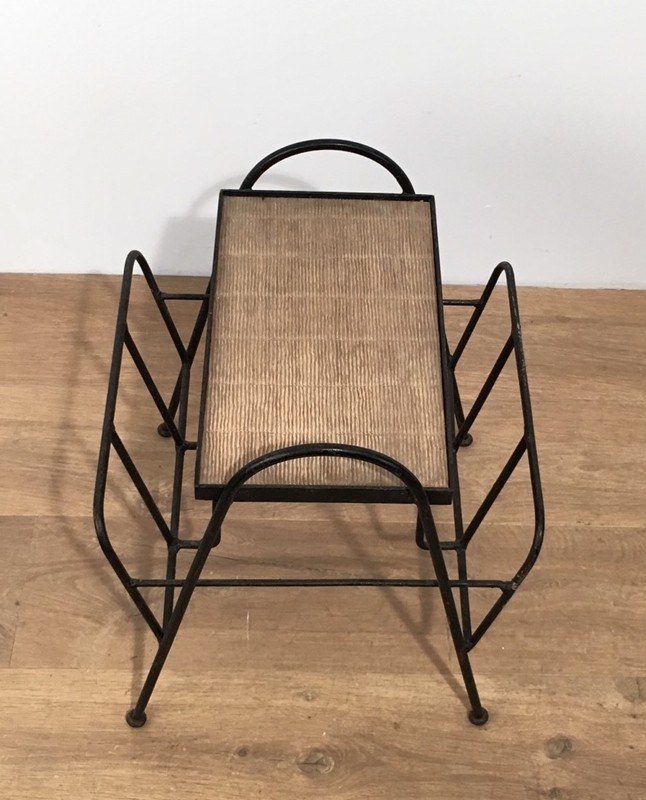 Black Lacquered Metal and Rattan Magazine Rack-barrois-antiques-50's-28587-main-636646835736218340.jpg