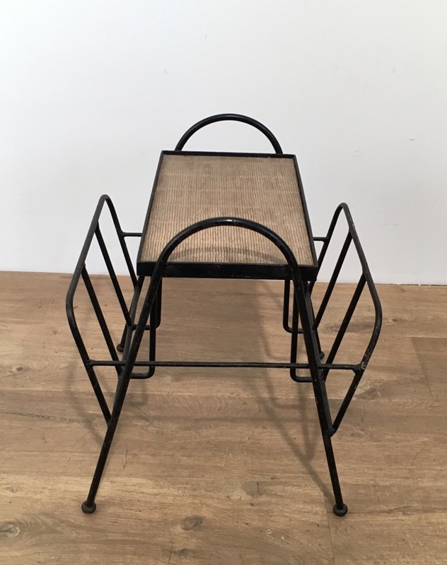 Black Lacquered Metal and Rattan Magazine Rack-barrois-antiques-50's-28588-main-636646835879589692.jpg