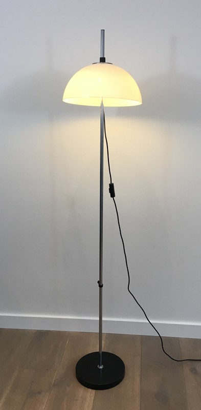 Chrome, Black lacquer and acrylic floor lamp-barrois-antiques-50's-29039-main-636674958765774571.JPG