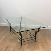 Unusual Wrought Iron Tree Branches Coffee Table