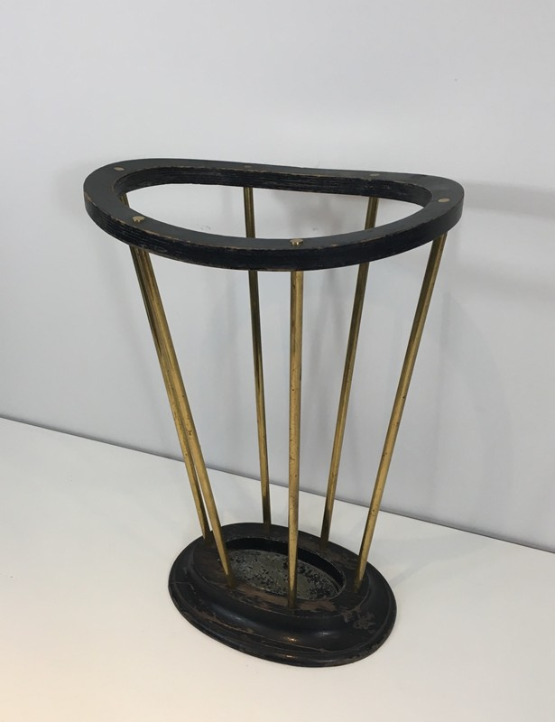 Attr to Jacques Adnet. Wood & Brass Umbrella Stand-barrois-antiques-50's-29284-main-636716478229167895.JPG