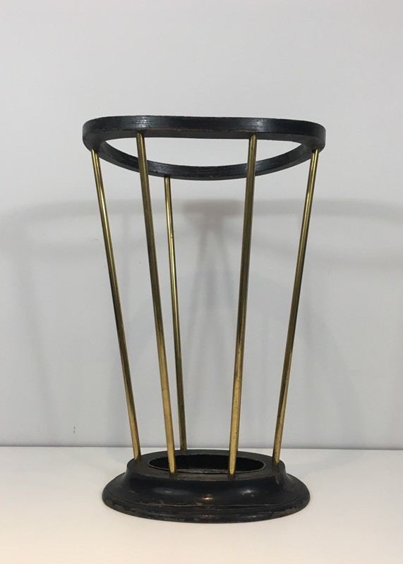 Attr to Jacques Adnet. Wood & Brass Umbrella Stand-barrois-antiques-50's-29289-main-636716479051486063.JPG