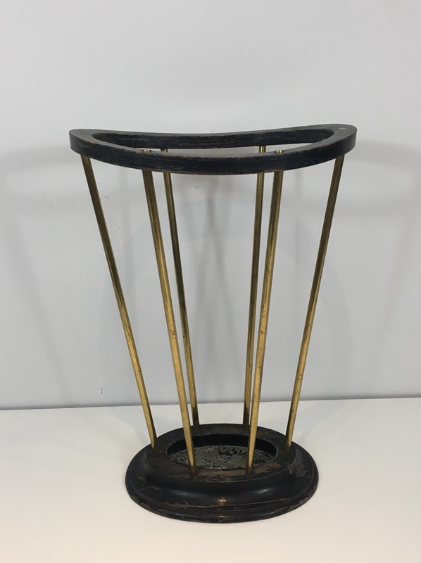 Attr to Jacques Adnet. Wood & Brass Umbrella Stand-barrois-antiques-50's-29297-main-636716479741665455.JPG