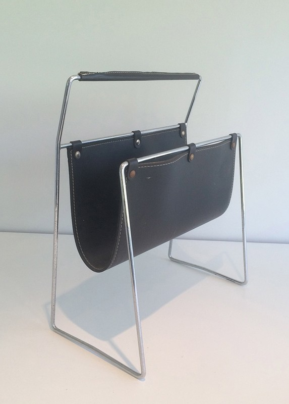 Black Leather and Chrome Magazine rack-barrois-antiques-50's-29422-main-636682152287847239.jpg