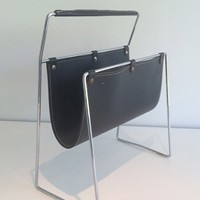 Black Leather and Chrome Magazine rack