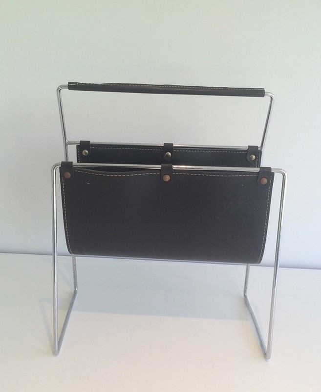 Black Leather and Chrome Magazine rack-barrois-antiques-50's-29423-main-636682152530439679.jpg