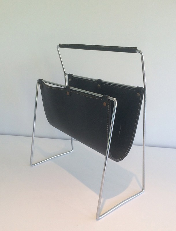 Black Leather and Chrome Magazine rack-barrois-antiques-50's-29424-main-636682152539800159.jpg