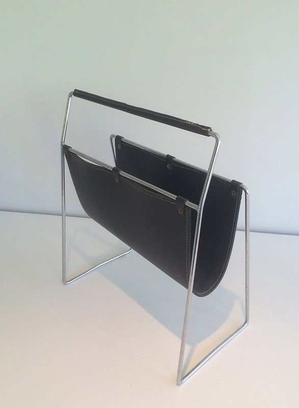 Black Leather and Chrome Magazine rack-barrois-antiques-50's-29425-main-636682152548848623.jpg
