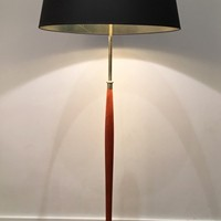 Wood and Brass floor Lamp. French. Circa 1970