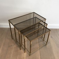 Neoclassical Brass Nesting Tables. French.