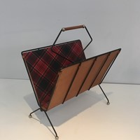 Black Metal, Leather and Fabric Magazine Rack
