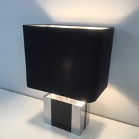 Chrome and Black Lacquered Table Lamp. Circa 1950