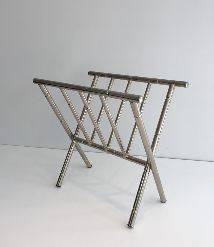 Faux-Bamboo Nickel Magazine Rack. French. Circa -barrois-antiques-50's-30614-main-636788416155280990.JPG