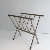 Faux-Bamboo Nickel Magazine Rack. French. Circa