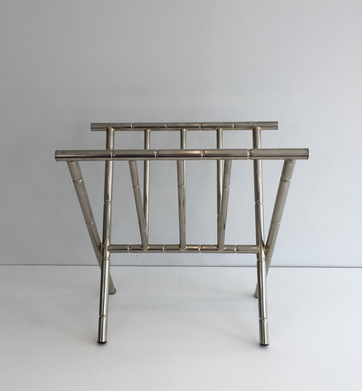 Faux-Bamboo Nickel Magazine Rack. French. Circa -barrois-antiques-50's-30615-main-636788416383026035.JPG