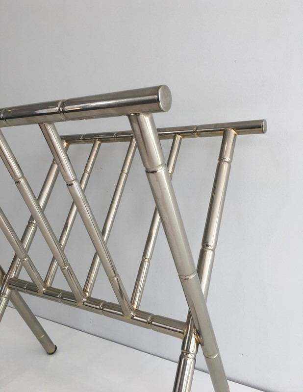 Faux-Bamboo Nickel Magazine Rack. French. Circa -barrois-antiques-50's-30619-main-636788416457555925.JPG