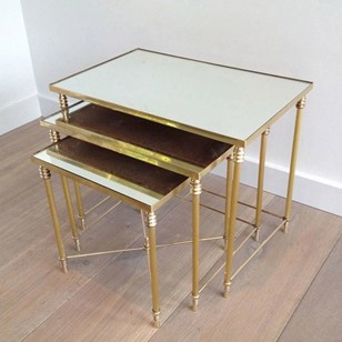 Set Of Three Brass Nesting tables with Mirror Tops