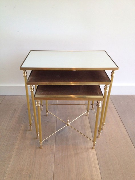 Set Of Three Brass Nesting tables with Mirror Tops-barrois-antiques-50's-3452_main_636341047277004799.jpg