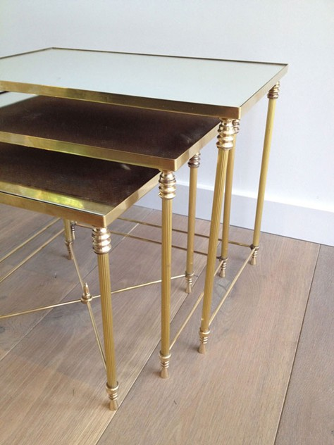 Set Of Three Brass Nesting tables with Mirror Tops-barrois-antiques-50's-3453_main_636341047351888639.jpg