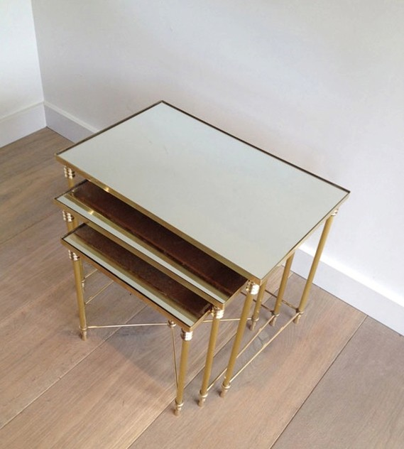 Set Of Three Brass Nesting tables with Mirror Tops-barrois-antiques-50's-3459_main_636341048111959615.jpg