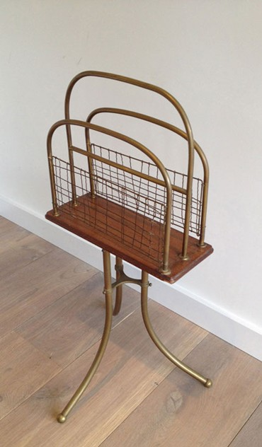 Brass and Wood Magazine Rack-barrois-antiques-50's-3460_main_636461857316760280.jpg
