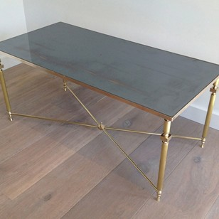Brass Coffee Table with Original Blueish Mirror