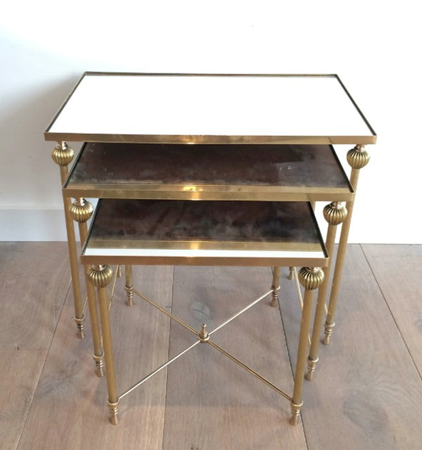 Brass Nesting Tables Set with Mirror Tops-barrois-antiques-50's-8861_main_636414262239558427.jpg