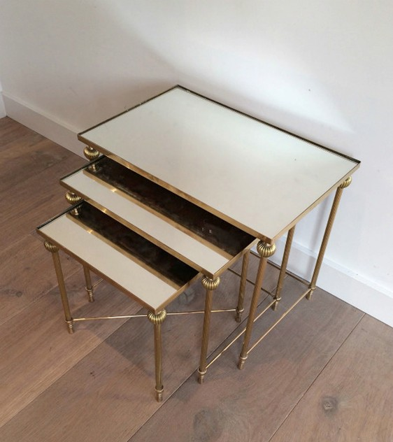 Brass Nesting Tables Set with Mirror Tops-barrois-antiques-50's-8862_main_636414262319590531.jpg