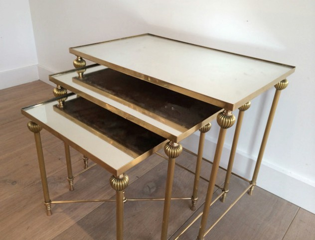 Brass Nesting Tables Set with Mirror Tops-barrois-antiques-50's-8863_main_636414262386985987.jpg