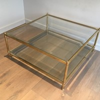Square Brass Coffee Table. French. Circa 1970