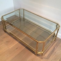 Octogonal Brass Coffee Table. French. Circa 1970
