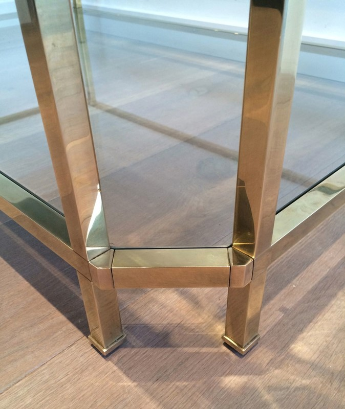 Octogonal Brass Coffee Table. French. Circa 1970-barrois-antiques-50s-24330-main-637042290606729181.JPG