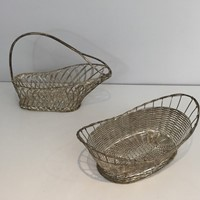 Silver Plated Strips Bottle Holder and Basket.