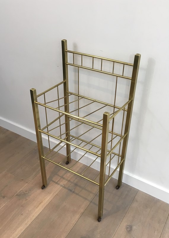 Brass Magazine Rack(Brass is damaged on a foot). -barrois-antiques-50s-30964-main-636801334681788629.jpg
