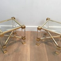 Pair of acrylic and gold gilt Side Tables